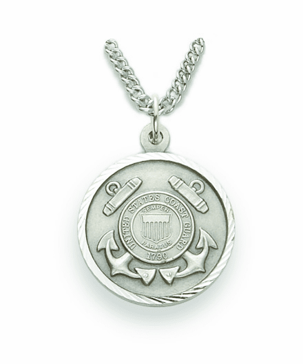Singer Medium St Michael US Coast Guard Sterling Silver Necklace