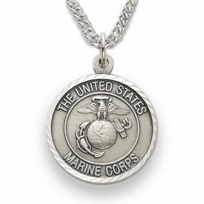 Singer Medium St Michael US Marine Corp Sterling Silver Necklace