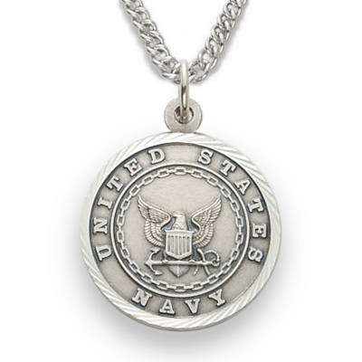 Singer Medium St Michael US Navy Sterling Silver Necklace