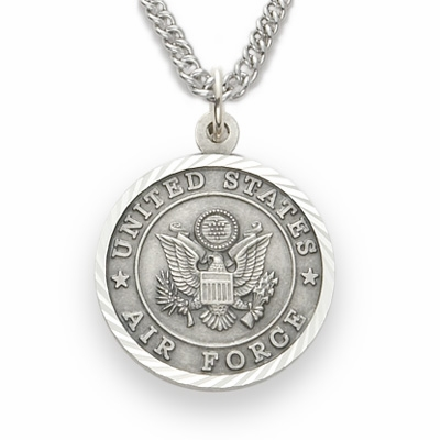 Singer Medium US Air Force Sterling Silver Medal w/Cross on Back Necklace