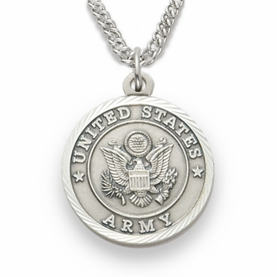 Singer Medium US Army Sterling Silver Medal w/Cross on Back Necklace