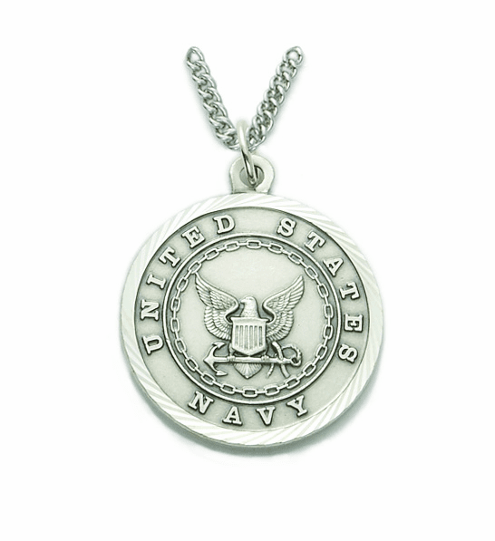 Singer Men's Navy St Michael Nickel Silver Military Necklace