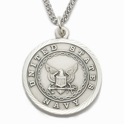 Singer Men's Navy St Michael Sterling Silver Military Necklace
