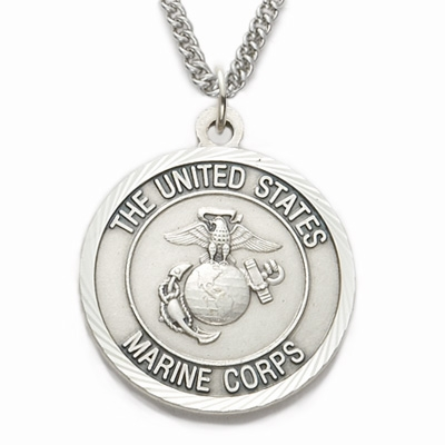 Singer Men's St Michael US Marine Corp Medal Sterling Silver Necklace