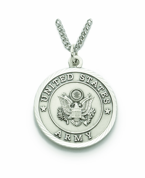 Singer Men's US Army St Michael Sterling Silver Military Necklace