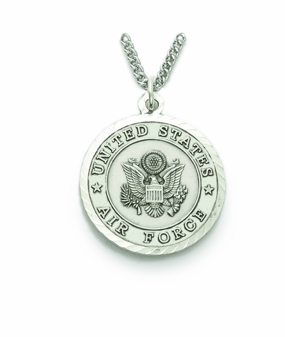 Singer Mens Air Force St Michael Nickel Silver Military Medal Necklace