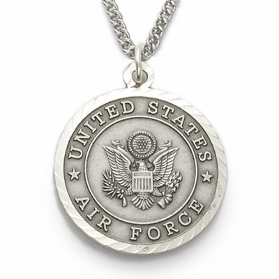 Singer Mens Air Force St Michael Sterling Silver Military Medal Necklace