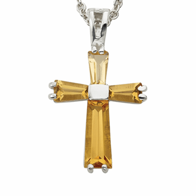 Singer November Topaz Birthstone Cross Necklace