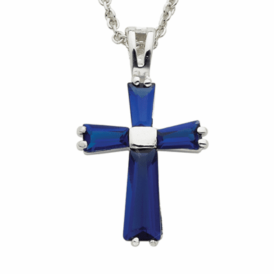 Singer September Sapphire Birthstone Cross Necklace