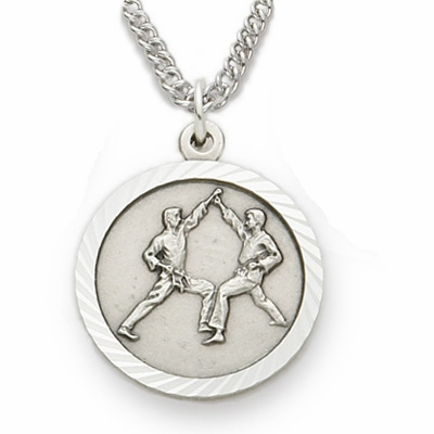 Singer St Christopher Karate Sterling Silver Pendant Necklace