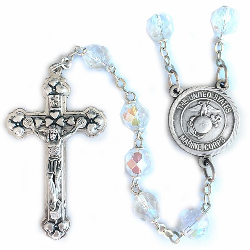 Singer St Michael Glass Crystal Beads Rosary with US Marines Center