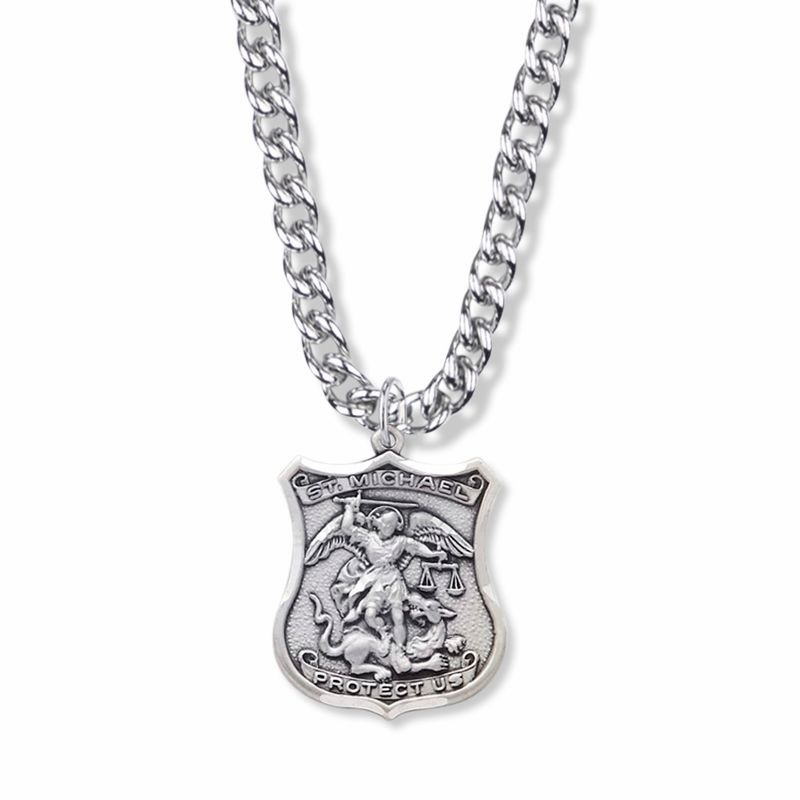 Singer St Michael Patron of Police Officers Sterling Silver Shield Medal Necklace