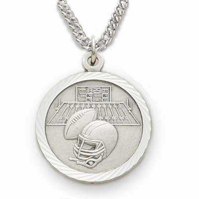 Singer Sterling Silver Boys Football Pendant with Cross Necklace
