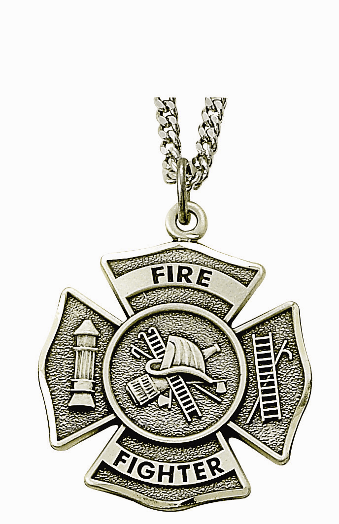 Singer Sterling Silver Fireman Shield Medal Necklace with Christian Cross on Back