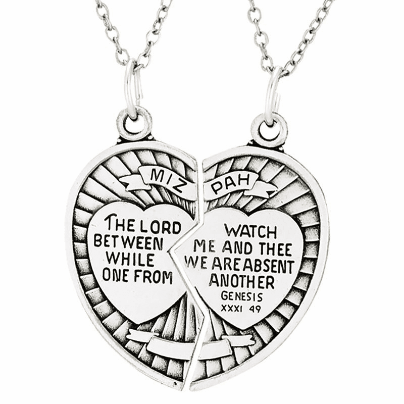 Singer Sterling Silver Two Piece Mizpah Heart Medal Necklaces