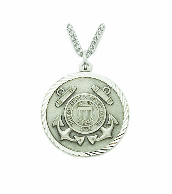 Singer US Coast Guard Mens Sterling Silver Medal w/Christian Cross Necklace