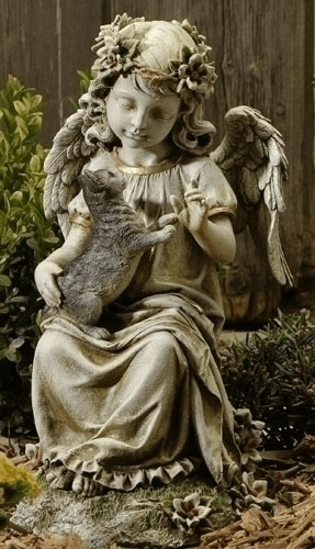 Sitting Angel with a Playful Kitten in Her Lap Statue by Joseph Studio