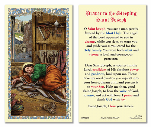 Sleeping Saint Joseph Laminated Holy Prayer Cards by Gerffert