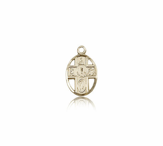 Small 14kt Gold 5-Way Chalice Communion Medal Pendant