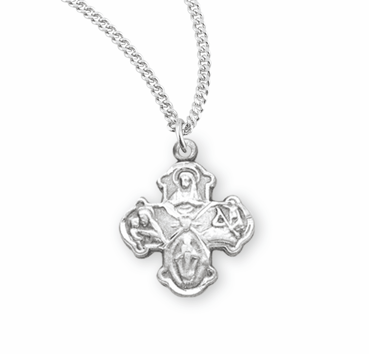 Small 4-Way Sterling Cross Medal Necklace w/Sacred Heart Center by HMH Religious