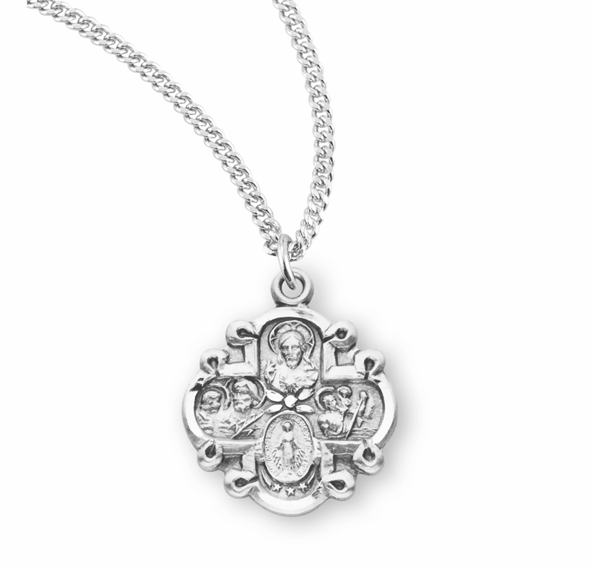 Small 4-Way Sterling Silver Cross Medal Necklace by HMH Religious