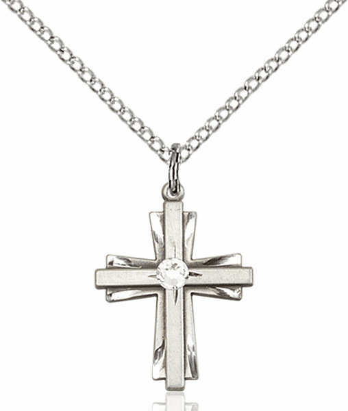 Small Birthstone Crystal April Double Etched Cross Necklace by Bliss