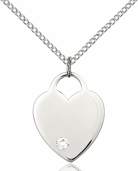 Small Birthstone Crystal April Sterling Silver Necklace by Bliss
