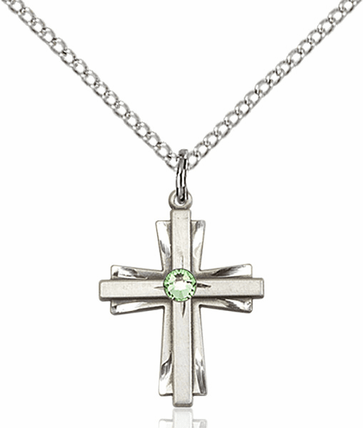 Small Birthstone Crystal August Peridot Double Etched Cross Necklace by Bliss