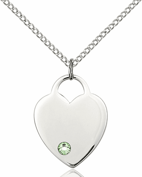 Small Birthstone Crystal August Peridot Sterling Silver Necklace by Bliss
