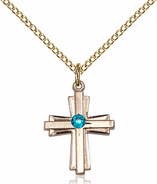 Small Birthstone Crystal December Zircon Double Etched 14kt Gold-filled Cross Necklace by Bliss