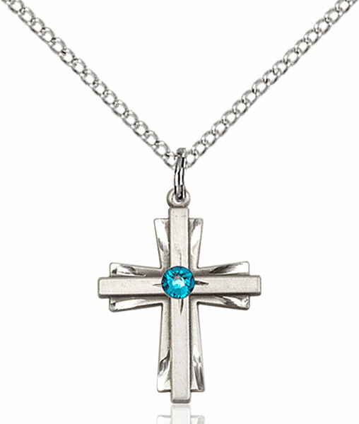 Small Birthstone Crystal December Zircon Double Etched Cross Necklace by Bliss