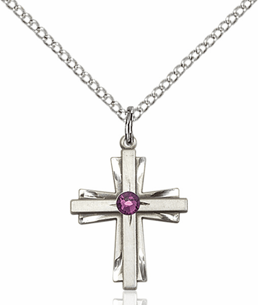 Small Birthstone Crystal February Amethyst Double Etched Cross Necklace by Bliss
