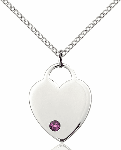 Small Birthstone Crystal February Amethyst Sterling Silver Necklace by Bliss