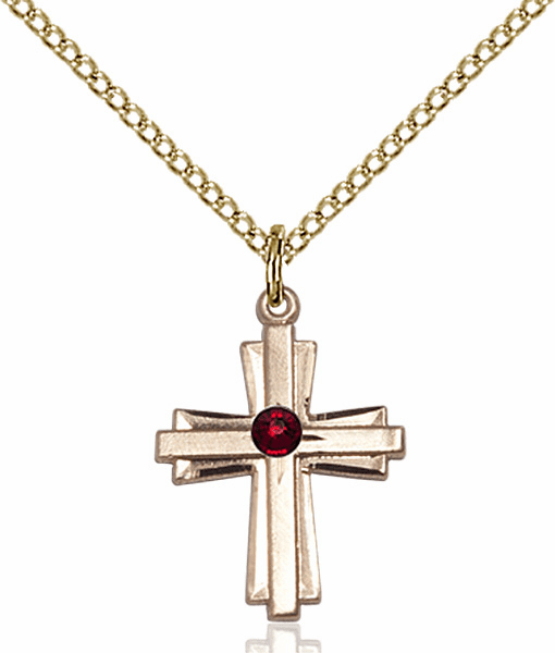 Small Birthstone Crystal January Garnet Double Etched 14kt Gold-filled Cross Necklace by Bliss