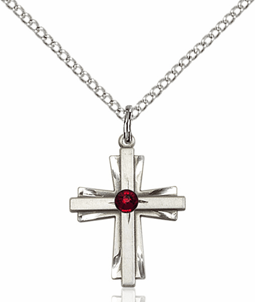 Small Birthstone Crystal January Garnet Double Etched Cross Necklace by Bliss