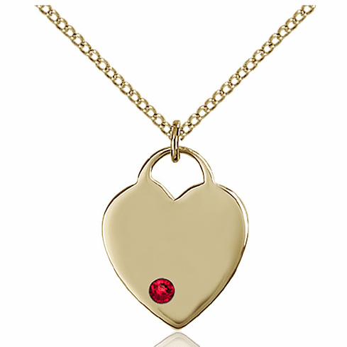 Small Birthstone Crystal July Ruby 14kt Gold-filled Necklace by Bliss
