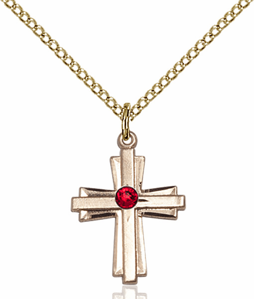 Small Birthstone Crystal July Ruby Double Etched 14kt Gold-filled Cross Necklace by Bliss