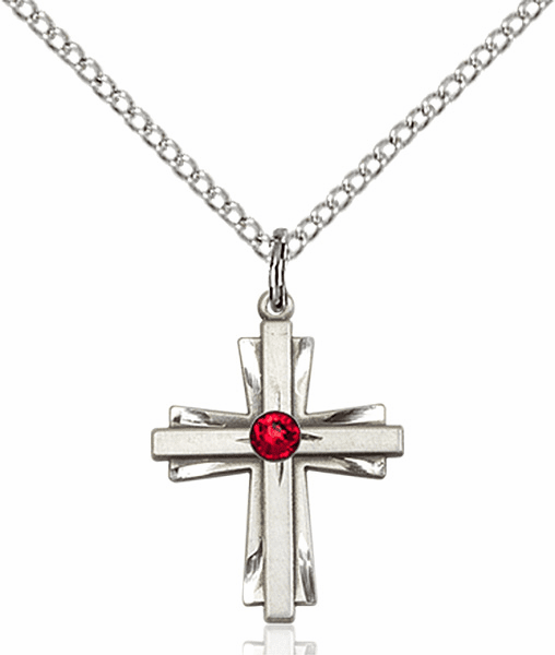Small Birthstone Crystal July Ruby Double Etched Cross Necklace by Bliss