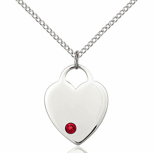 Small Birthstone Crystal July Ruby Sterling Silver Necklace by Bliss