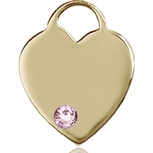 Small Birthstone Crystal June Lt Amethyst 14kt Gold Necklace by Bliss