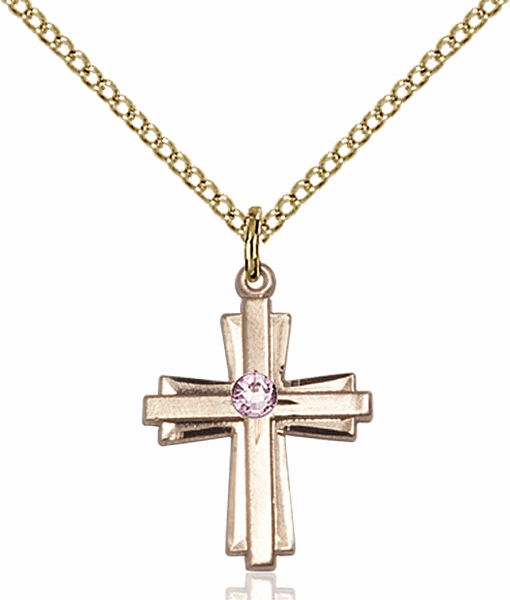 Small Birthstone Crystal June Lt Amethyst Double Etched 14kt Gold-filled Cross Necklace by Bliss
