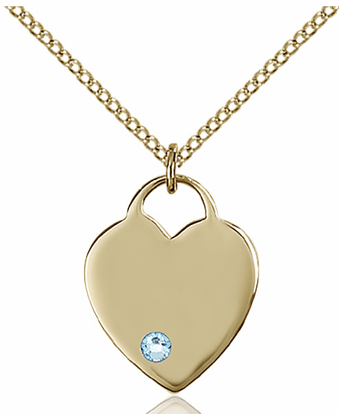 Small Birthstone Crystal March Aqua 14kt Gold-filled Necklace by Bliss