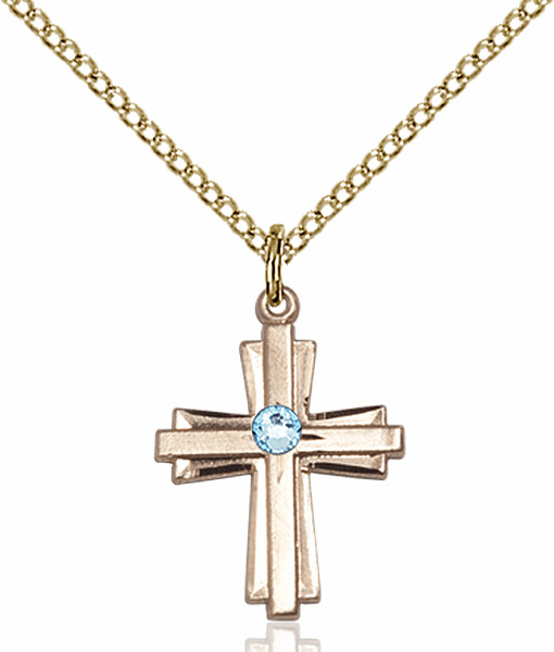 Small Birthstone Crystal March Aqua Double Etched 14kt Gold-filled Cross Necklace by Bliss