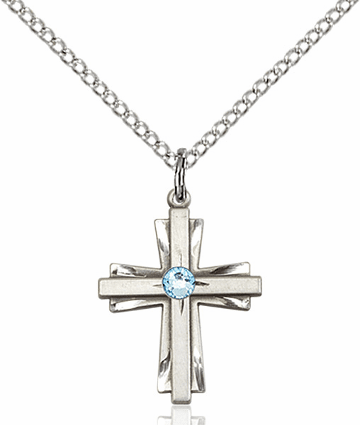Small Birthstone Crystal March Aqua Double Etched Cross Necklace by Bliss