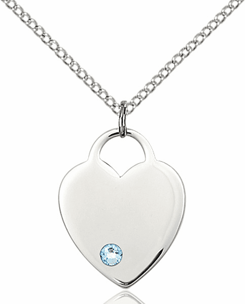 Small Birthstone Crystal March Aqua Sterling Silver Necklace by Bliss