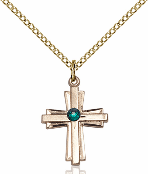Small Birthstone Crystal May Emerald Double Etched 14kt Gold-filled Cross Necklace by Bliss