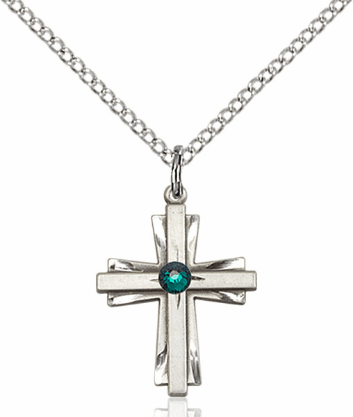Small Birthstone Crystal May Emerald Double Etched Cross Necklace by Bliss
