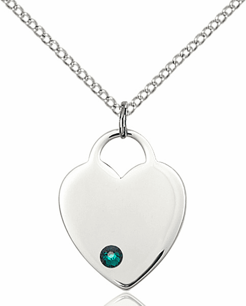 Small Birthstone Crystal May Emerald Sterling Silver Necklace by Bliss