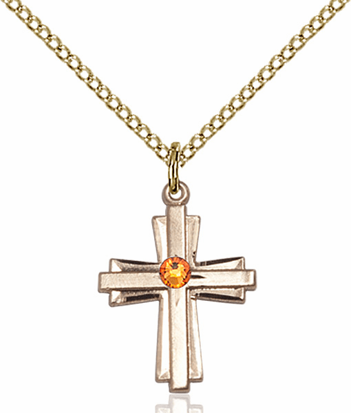 Small Birthstone Crystal November Topaz Double Etched 14kt Gold-filled Cross Necklace by Bliss