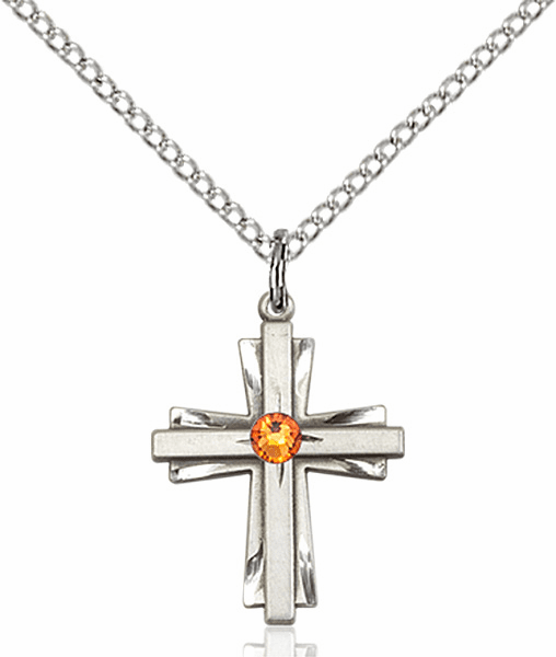 Small Birthstone Crystal November Topaz Double Etched Cross Necklace by Bliss